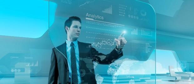 Businessman press graph future technology touchscreen interface